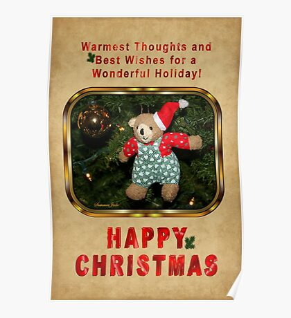 Happy Christmas Wishes ~ Teddy Bear Poster