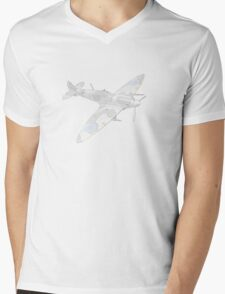 1936 WWII Spitfire Fighter Airplane Mens V-Neck T-Shirt