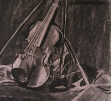 Violin Charcoal by Simone Dole