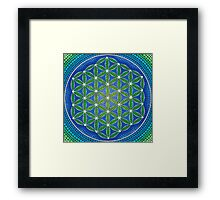 Flower of Life- Ocean Colours Framed Print