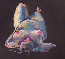 2007 Gouache Life Drawing Nude Female Study by Simon Collins