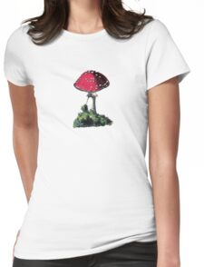 antique typographic vintage mushroom toadstool Womens Fitted T-Shirt