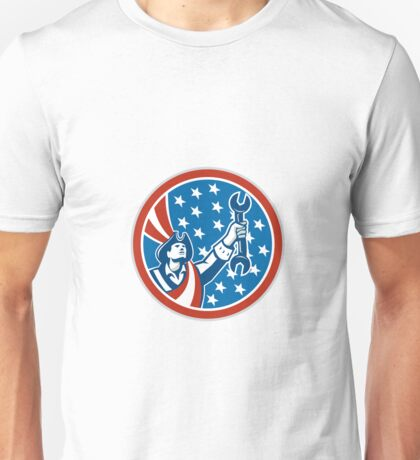American Mechanic Patriot Holding Spanner Circle Retro Unisex T-Shirt