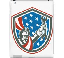 American Mechanic Patriot Holding Spanner Shield Retro iPad Case/Skin