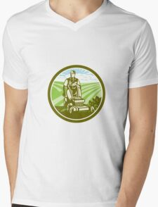 Ride On Lawn Mower Vintage Retro Mens V-Neck T-Shirt