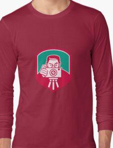 Photographer Shooting Camera Shield Retro Long Sleeve T-Shirt