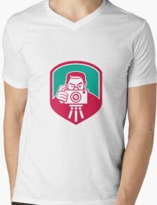 Photographer Shooting Camera Shield Retro Mens V-Neck T-Shirt