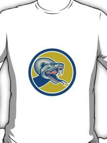 Rattle Snake Head Circle Retro T-Shirt