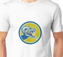 Rattle Snake Head Circle Retro Unisex T-Shirt