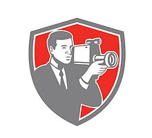 Video Cameraman Shooting Vintage Shield Retro by patrimonio