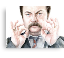Ron Swanson Portrait Canvas Print
