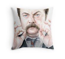 Ron Swanson Portrait Throw Pillow