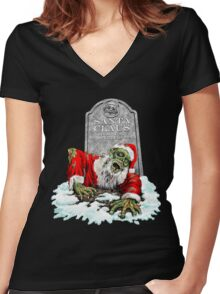 Zombie Christmas Horror Women's Fitted V-Neck T-Shirt