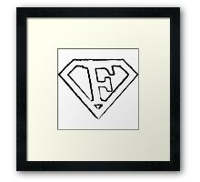 F letter in Superman style Framed Print