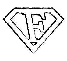 F letter in Superman style Photographic Print