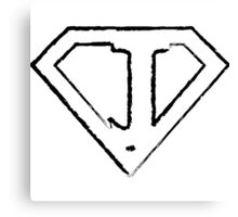 J letter in Superman style Canvas Print