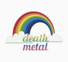 Death metal funny rainbow text tshirt by AnnaGo