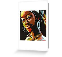 Girl with Silver Earrings Greeting Card