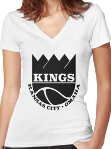 Kansas City Kings Omaha Women's Fitted V-Neck T-Shirt