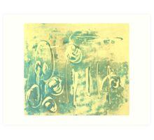 Aqua Monotype No 2 Art Print