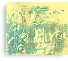 Aqua Monotype No 2 Canvas Print