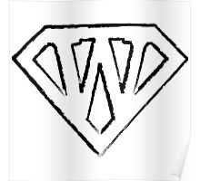 W letter in Superman style Poster