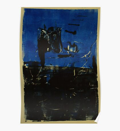 Blue and Black Monotype No.2 Poster