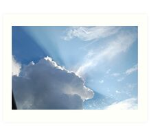 sun rays peaking through the clouds Art Print