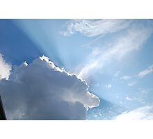 sun rays peaking through the clouds Photographic Print