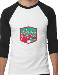 Hunter Aiming Shooting Ducks Shield Retro Men's Baseball ¾ T-Shirt