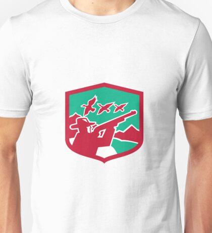 Hunter Aiming Shooting Ducks Shield Retro Unisex T-Shirt