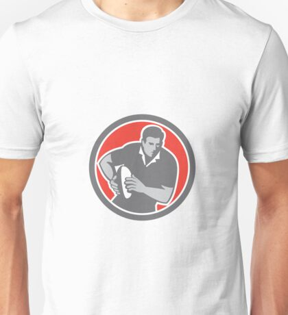 Rugby Player Running Ball Circle Retro Unisex T-Shirt