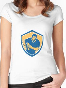 Rugby Player Running Ball Shield Retro Women's Fitted Scoop T-Shirt