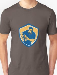 Rugby Player Running Ball Shield Retro Unisex T-Shirt