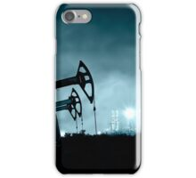 Pump jack and grangemouth refinery at night. iPhone Case/Skin