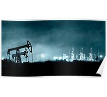 Pump jack and grangemouth refinery at night. Poster
