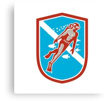 Scuba Diver Diving Going Up Shield Retro Canvas Print