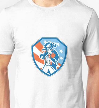 American Patriot Holding Wrench Shield Retro Unisex T-Shirt