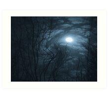 Blue Distorted Moon Art Print