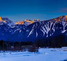Winter sunrise mount Begbie  by RevelstokeImage