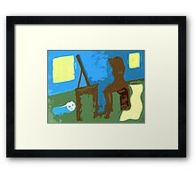 WOMAN AND CAT Framed Print