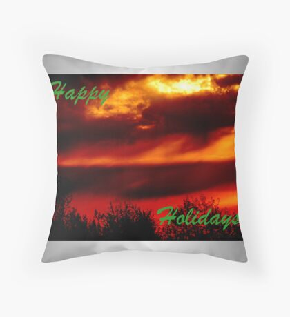 Happy Holidays Sunrise (holiday card) Throw Pillow