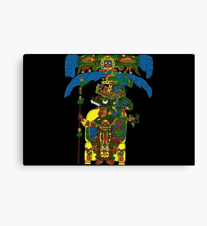 Great Mayan ruler of Tikal on his throne Canvas Print