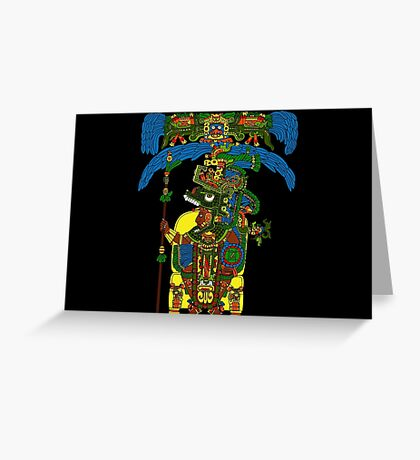 Great Mayan ruler of Tikal on his throne Greeting Card
