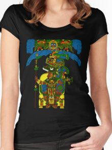 Great Mayan ruler of Tikal on his throne Women's Fitted Scoop T-Shirt