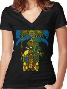 Great Mayan ruler of Tikal on his throne Women's Fitted V-Neck T-Shirt
