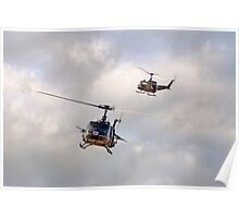 Bell UH-1 Iroquois Helicopters - (A Pair of Hueys) Poster