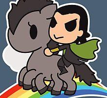 Loki in the Sky with Rainbows by kiriska