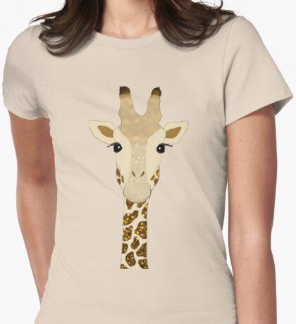 Golden Glitter Giraffe Womens Fitted T-Shirt