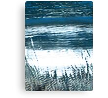 Pixel Beach Blue and Green Canvas Print